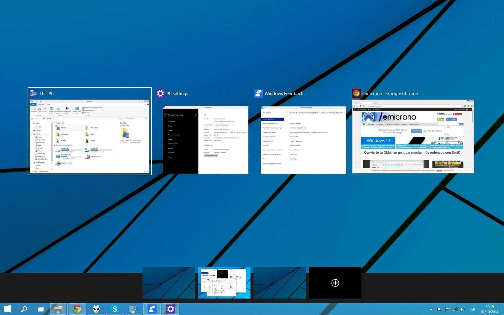 Windows Technical Preview -Escritorios
