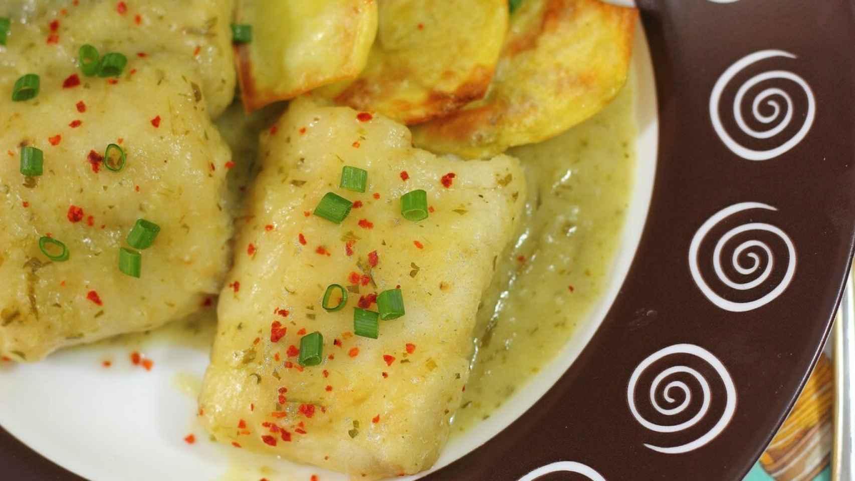 Merluza en salsa verde de sidra