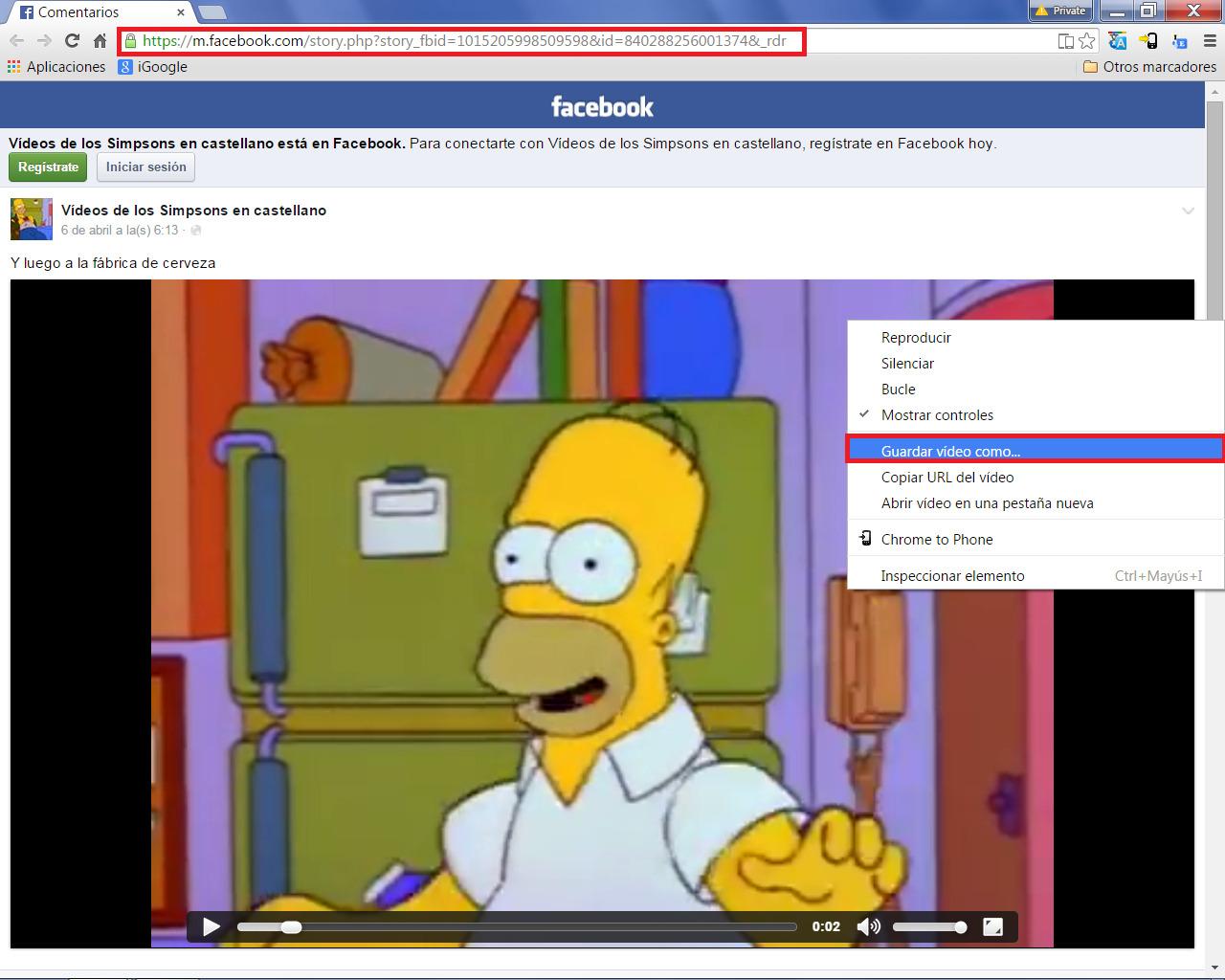 Descargar vídeo FB