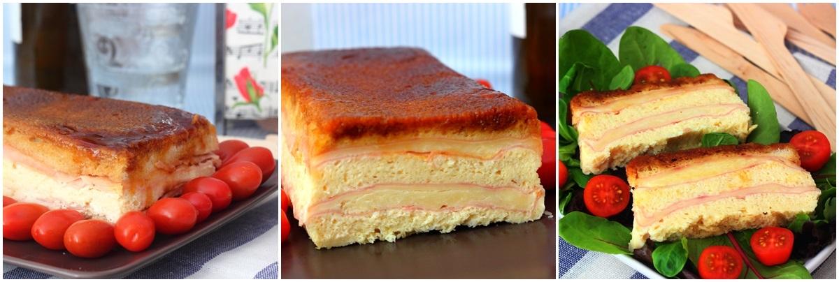 Pastel de jamón, queso y pan de molde