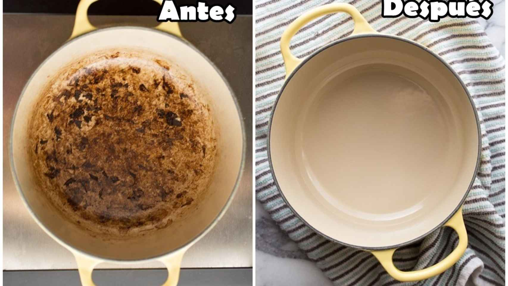 limpiar una olla quemada