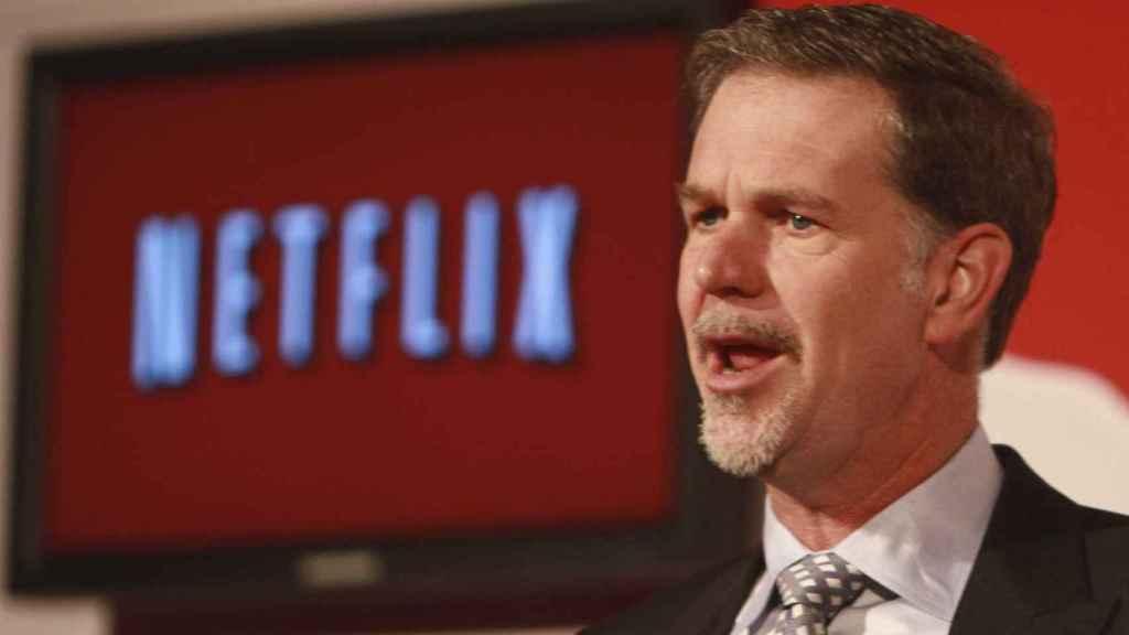 Reed Hastings en una presentación de Netflix.