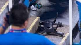 dron se estrella durante un partido de tenis