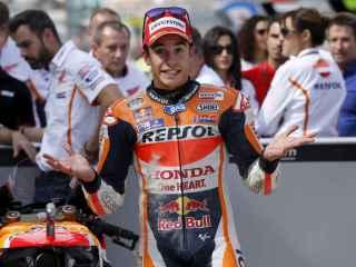 Marc Márquez sorprendido tras su vuelta récord en el Gran Premio de Aragón de Motociclismo.