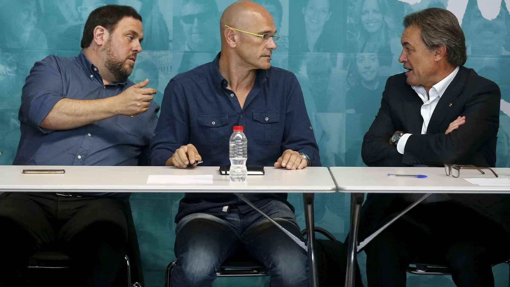 Oriol Junqueras, Raül Romeva y Artur Mas.