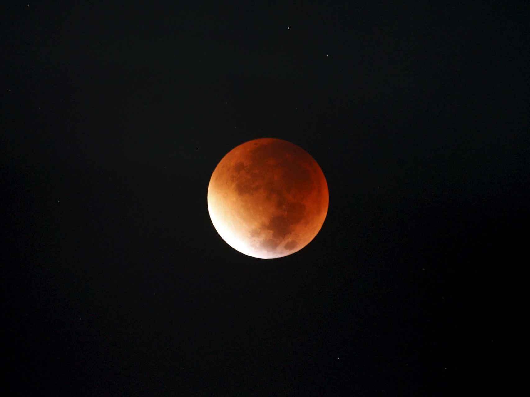 Imagen del eclipse en Amán, capital de Jordania.