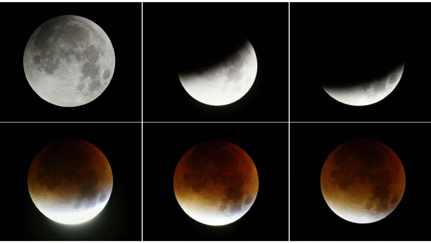 Imágenes de la luna durante el eclipse