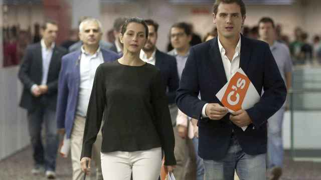 Arrimadas y Rivera este lunes en Barcelona.