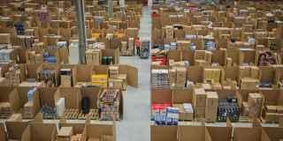 Interior de un almacén de Amazon