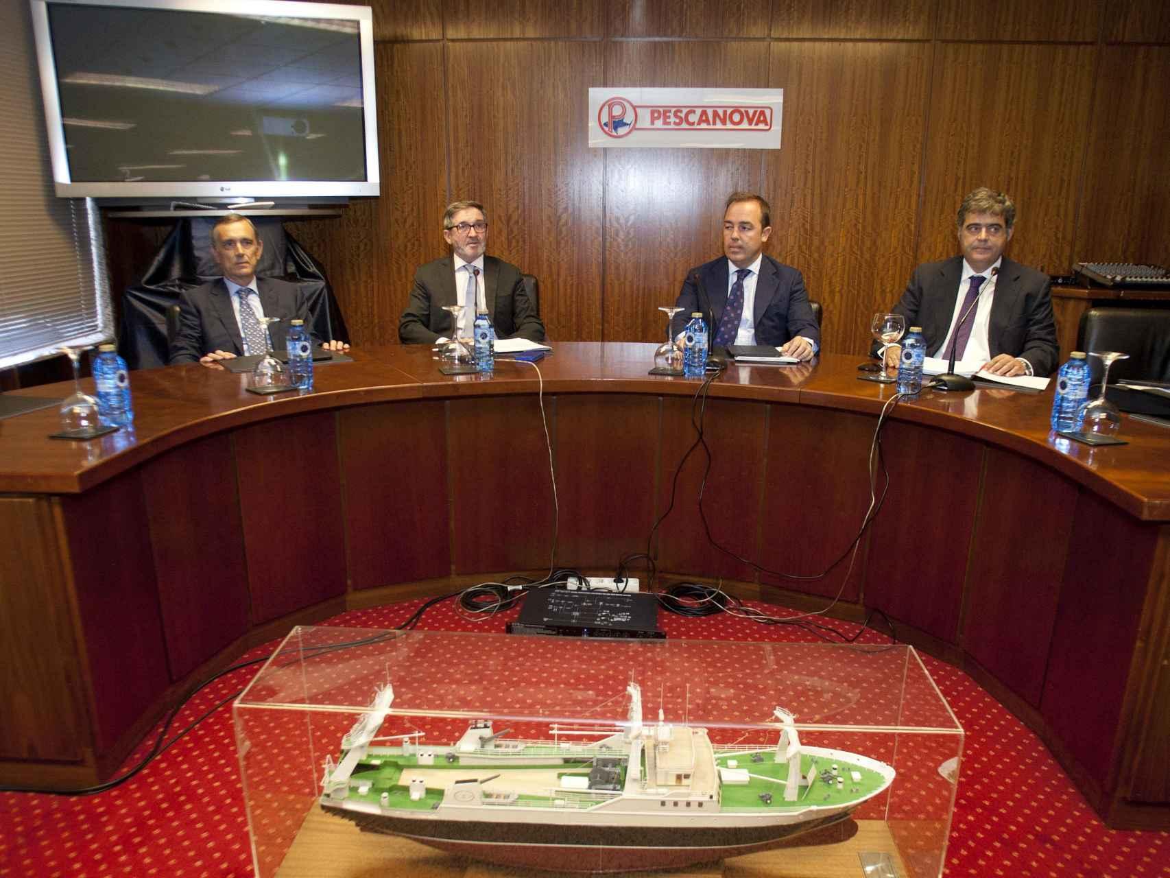Consejeros de Pescanova durante la junta de accionistas