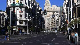 La Gran Vía de Madrid en el último Día Sin Coches