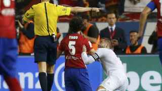 Ramos tras el penalti a Tiago en el derbi.