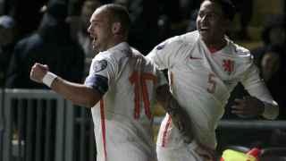 Wesley Sneijder celebra su gol