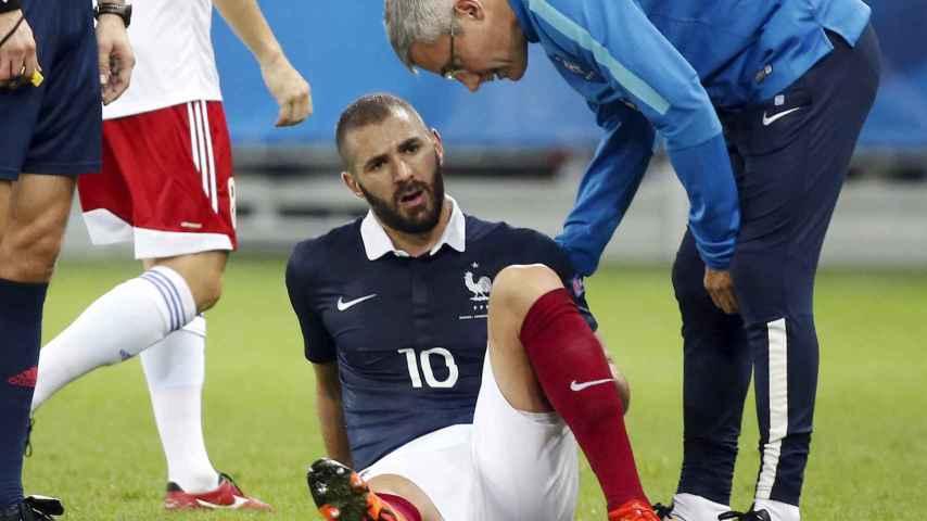 Benzema, lesionado. / Reuters