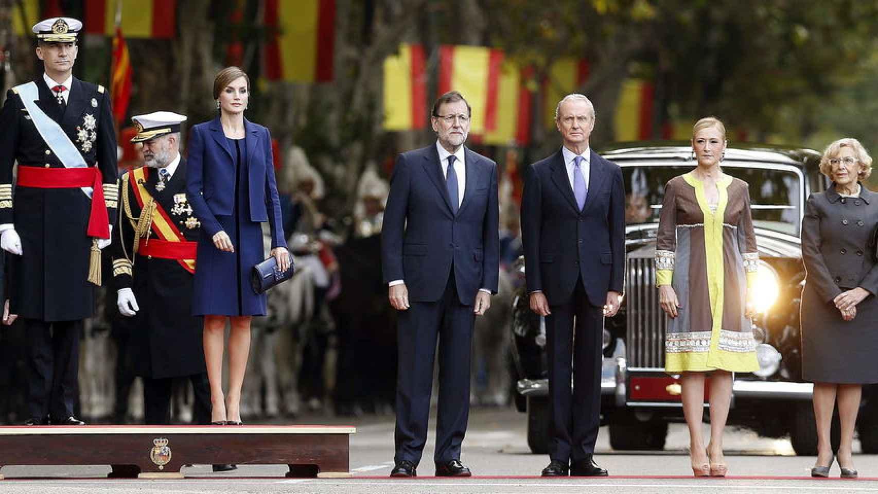 Los reyes Felipe y Letizia  y Mariano Rajoy han presidido el desfile del Día de la Fiesta Nacional