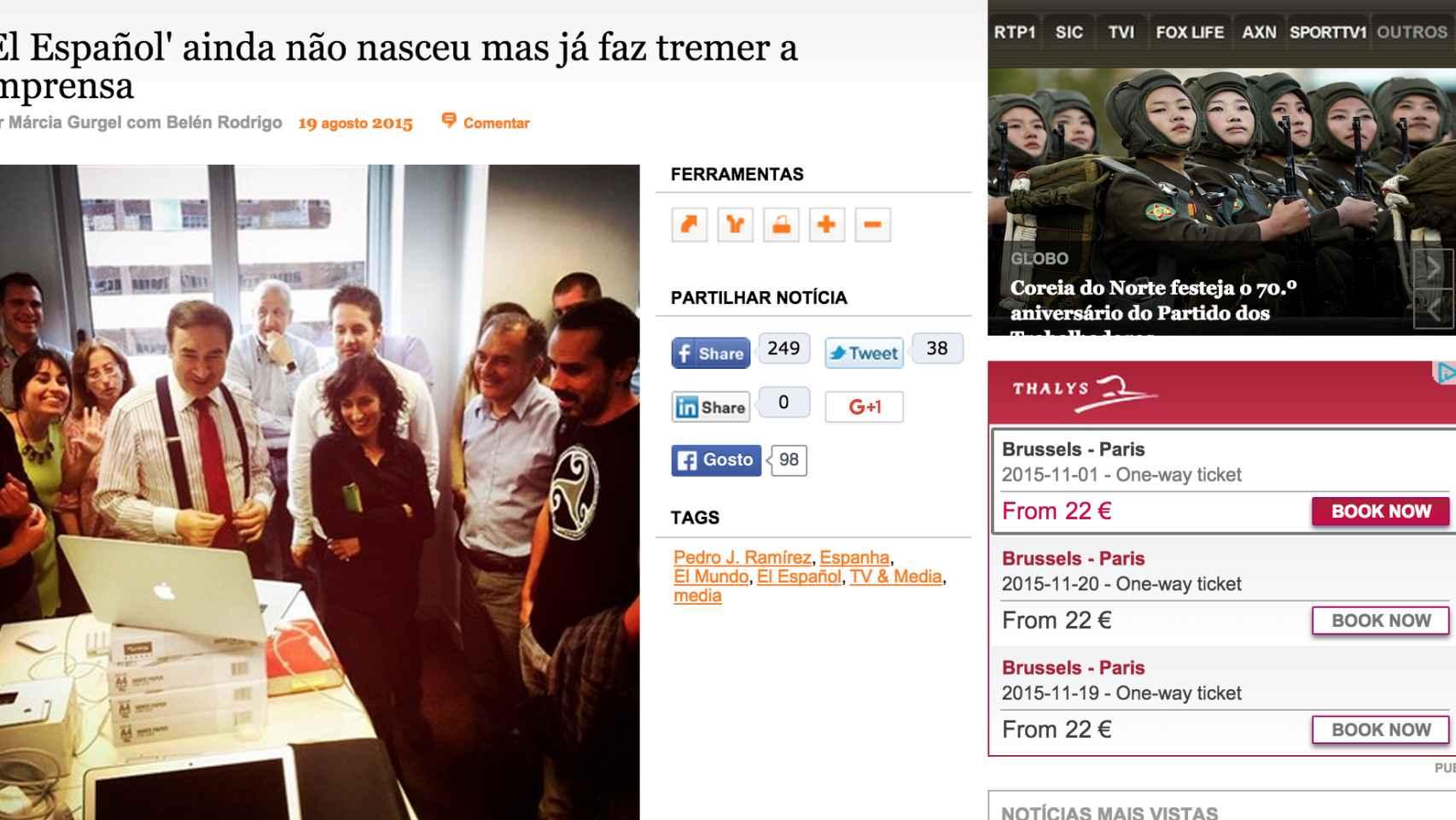 Artículo de 'Diario de Noticias'.