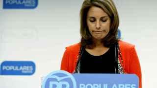 Arantza Quiroga hoy durante la rueda de prensa en la que ha comunicado su decisión de abandonar el cargo