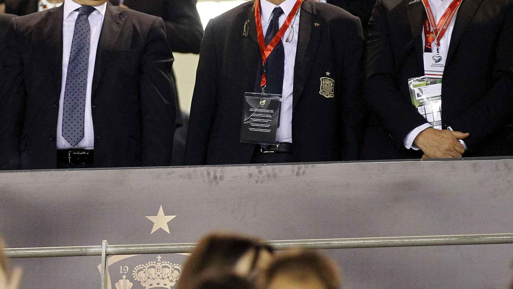 El presidente de la RFEF durante el último partido de selección española.