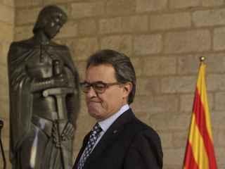 Artur Mas en la rueda de prensa que ha ofrecido en el Palau de la Generalitat tras declarar como imputado por el 9N.