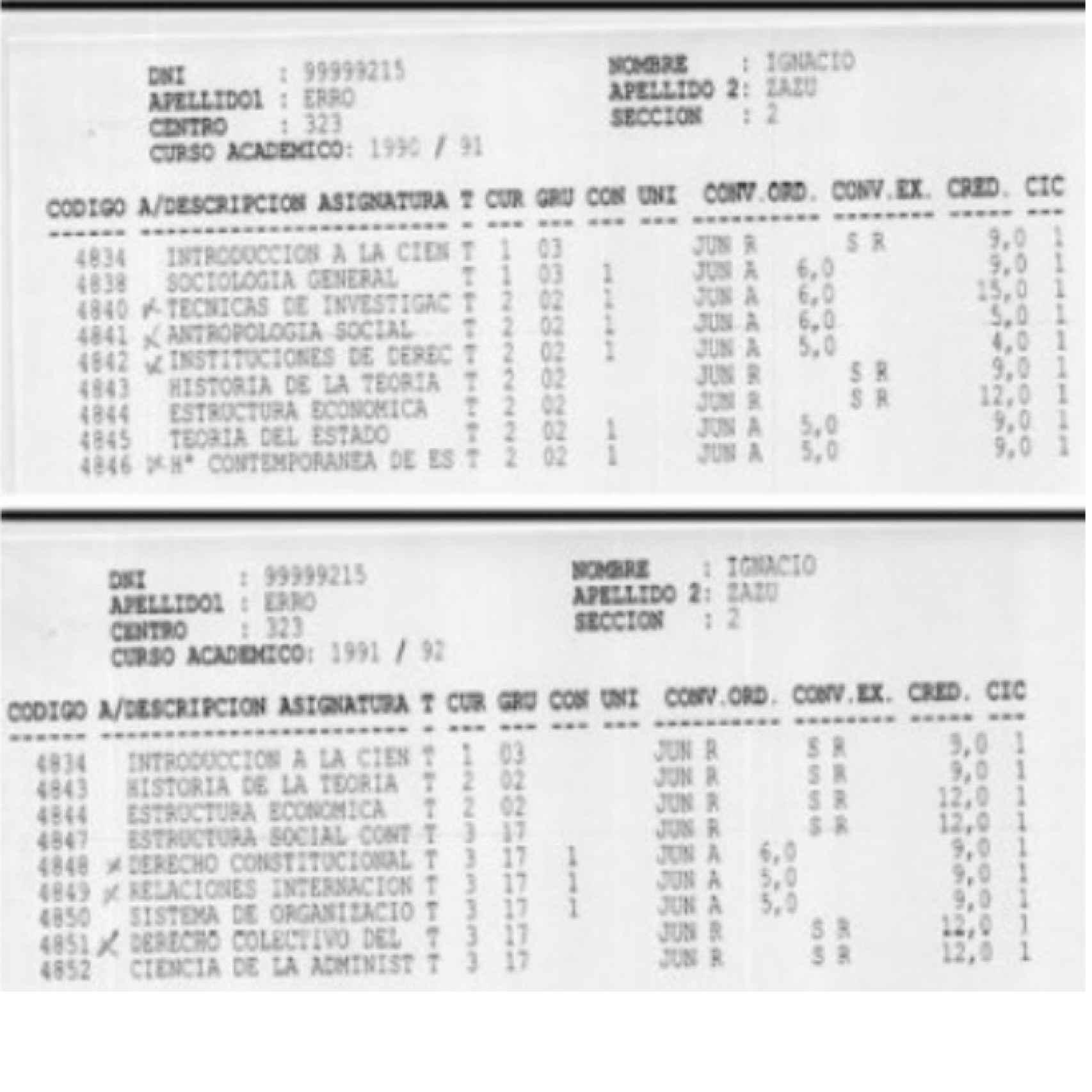 Resguardo de las calificaciones de Ignacio Erro Zazu con DNI falso.