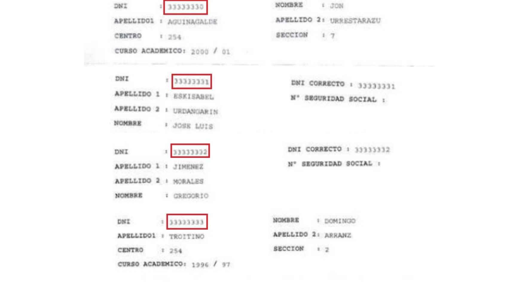 Documentos falsos, con numeraciones consecutivas, en los expedientes universitarios.