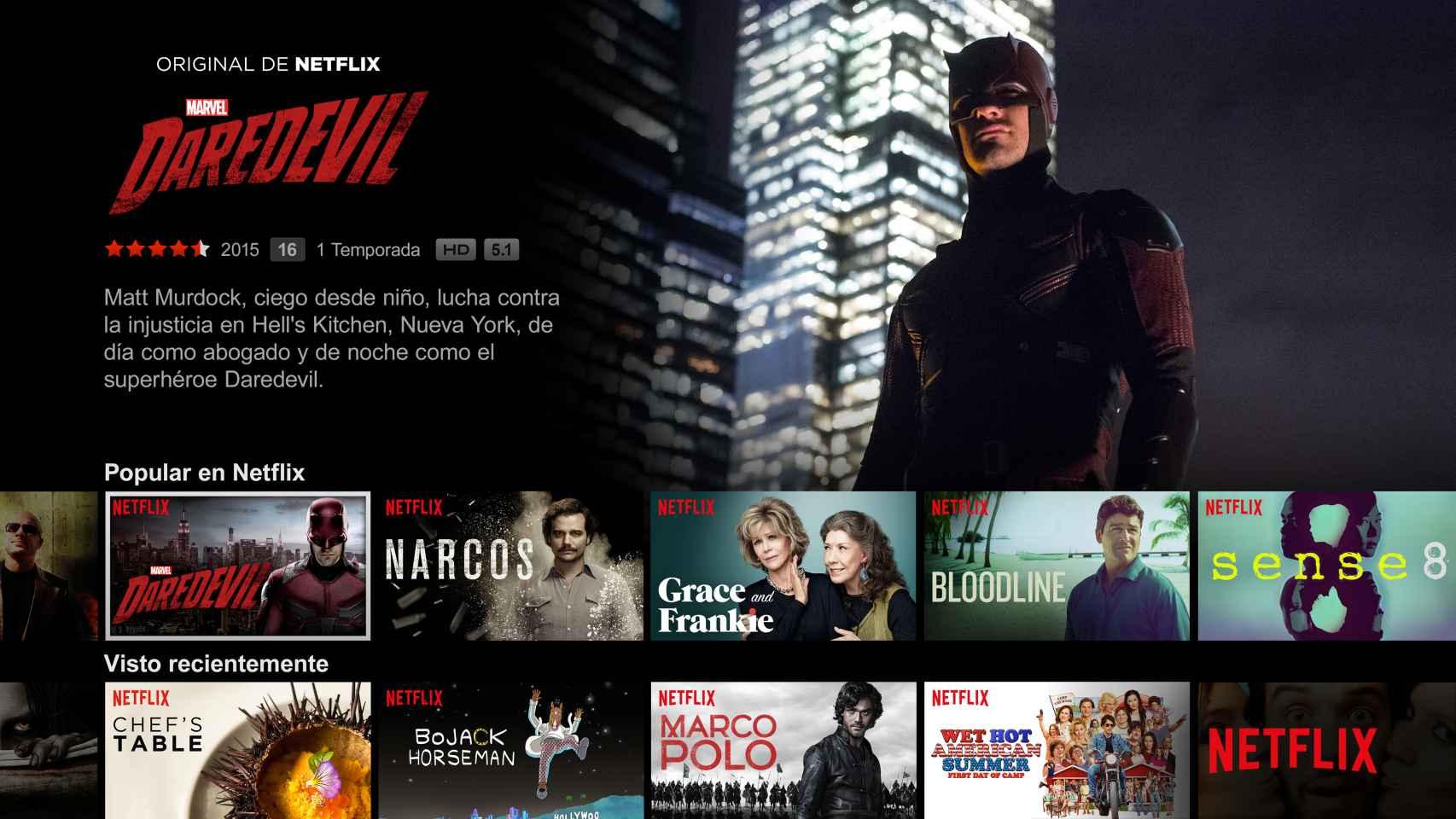 Así se ve Netflix en su versión española