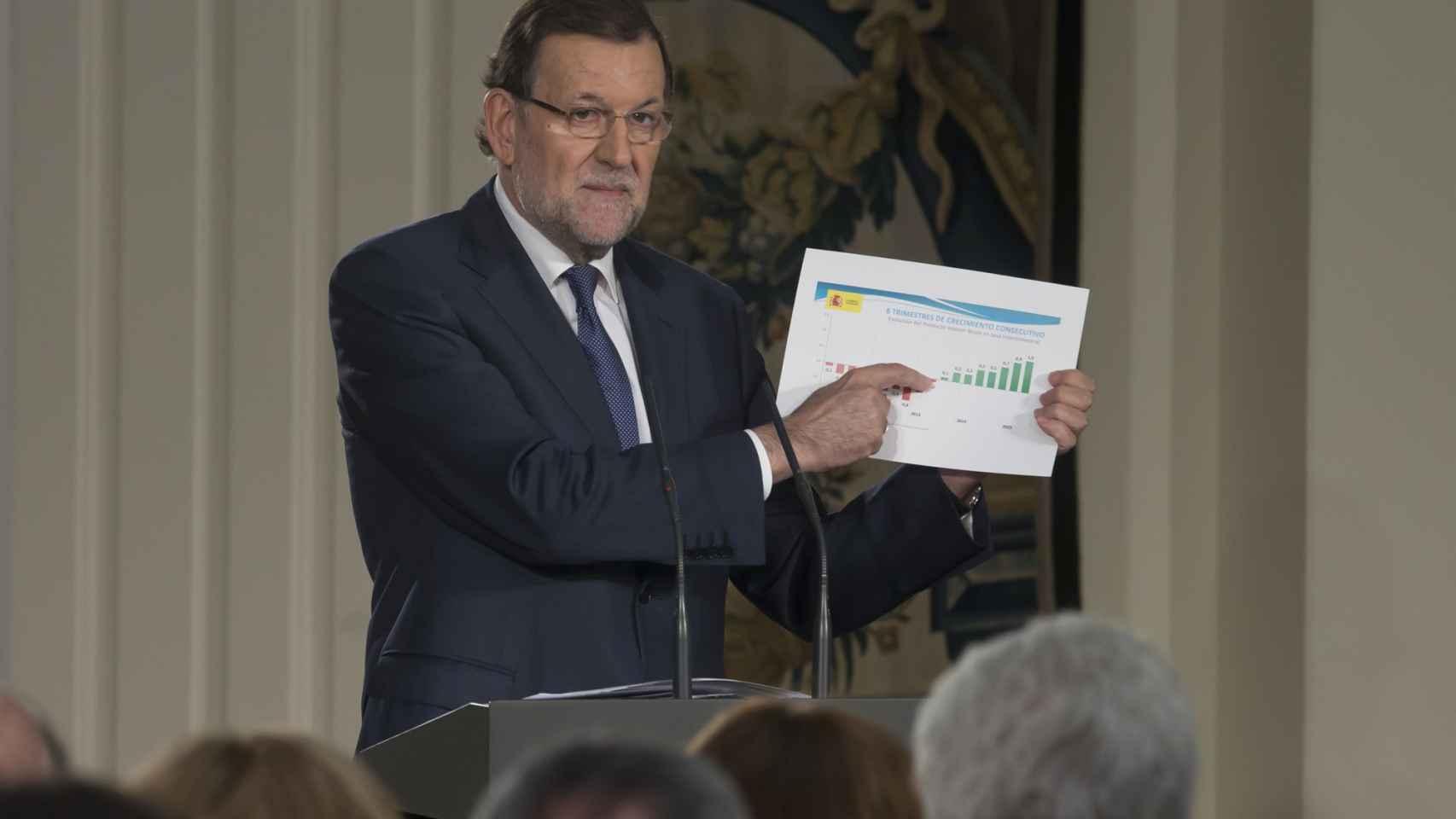 Mariano Rajoy durante el balance del curso político el pasado mes de julio