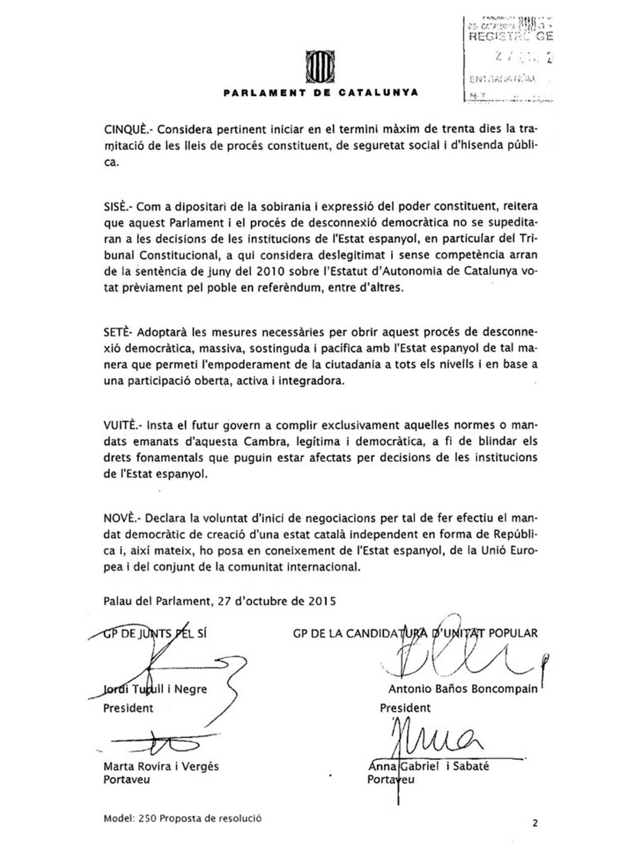 Declaración de JxS y la CUP