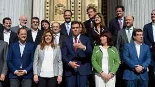 Susana Díaz y Pedro Sánchez este miércoles en la puerta de Congreso