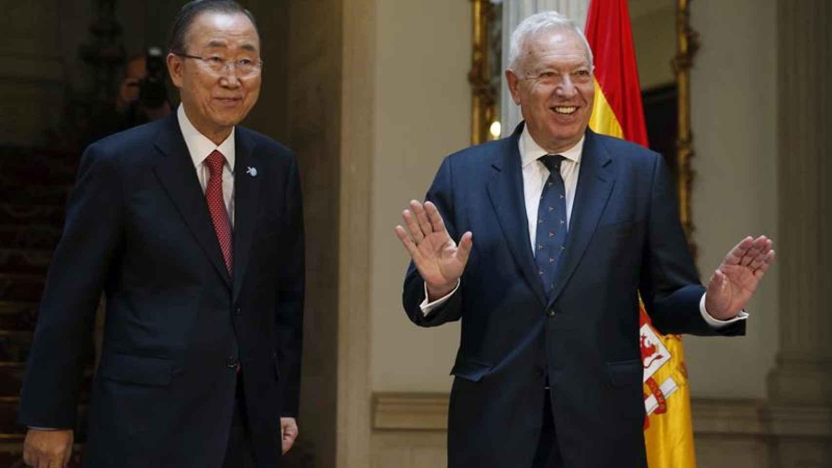 El ministro de Exteriores ha recibido a Ban Ki-Moon en el Palacio de Viana.