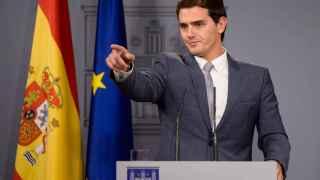 El líder de C'S, durante su comparecencia en Moncloa.