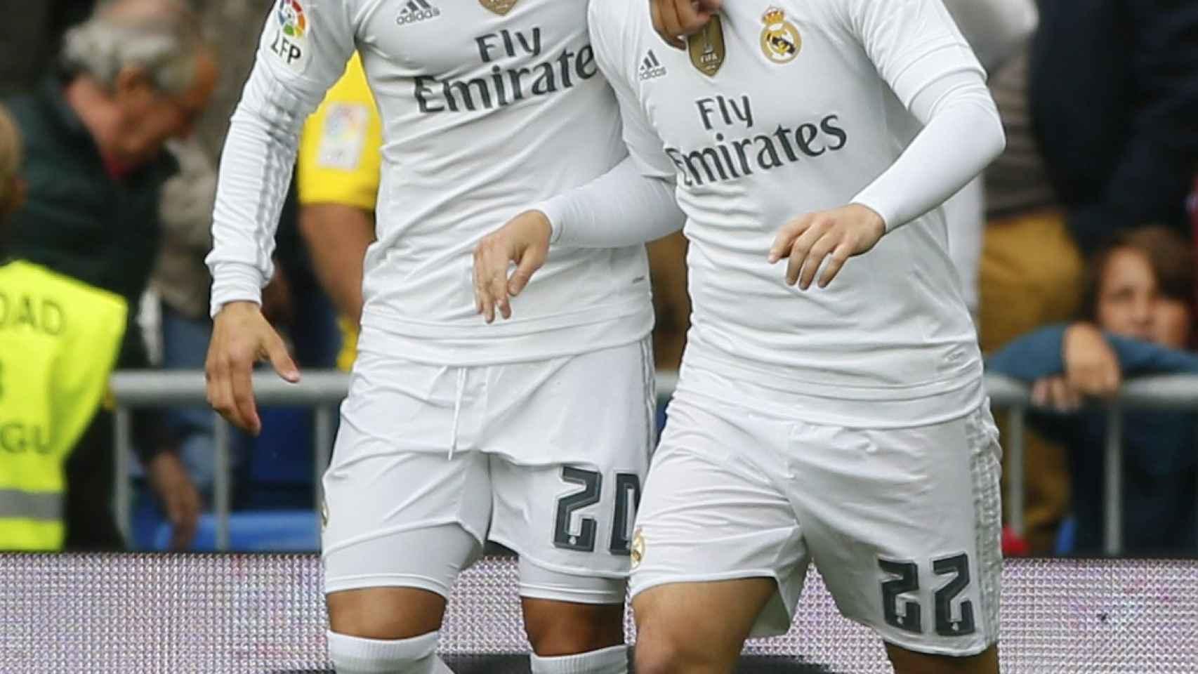Jesé e Isco celebran uno de los goles del Real Madrid a Las Palmas.