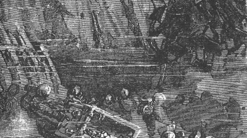 El grabado de 'La Ilustración Española y Americana' que retrata los trabajos para recuperar los tesoros de Rande.