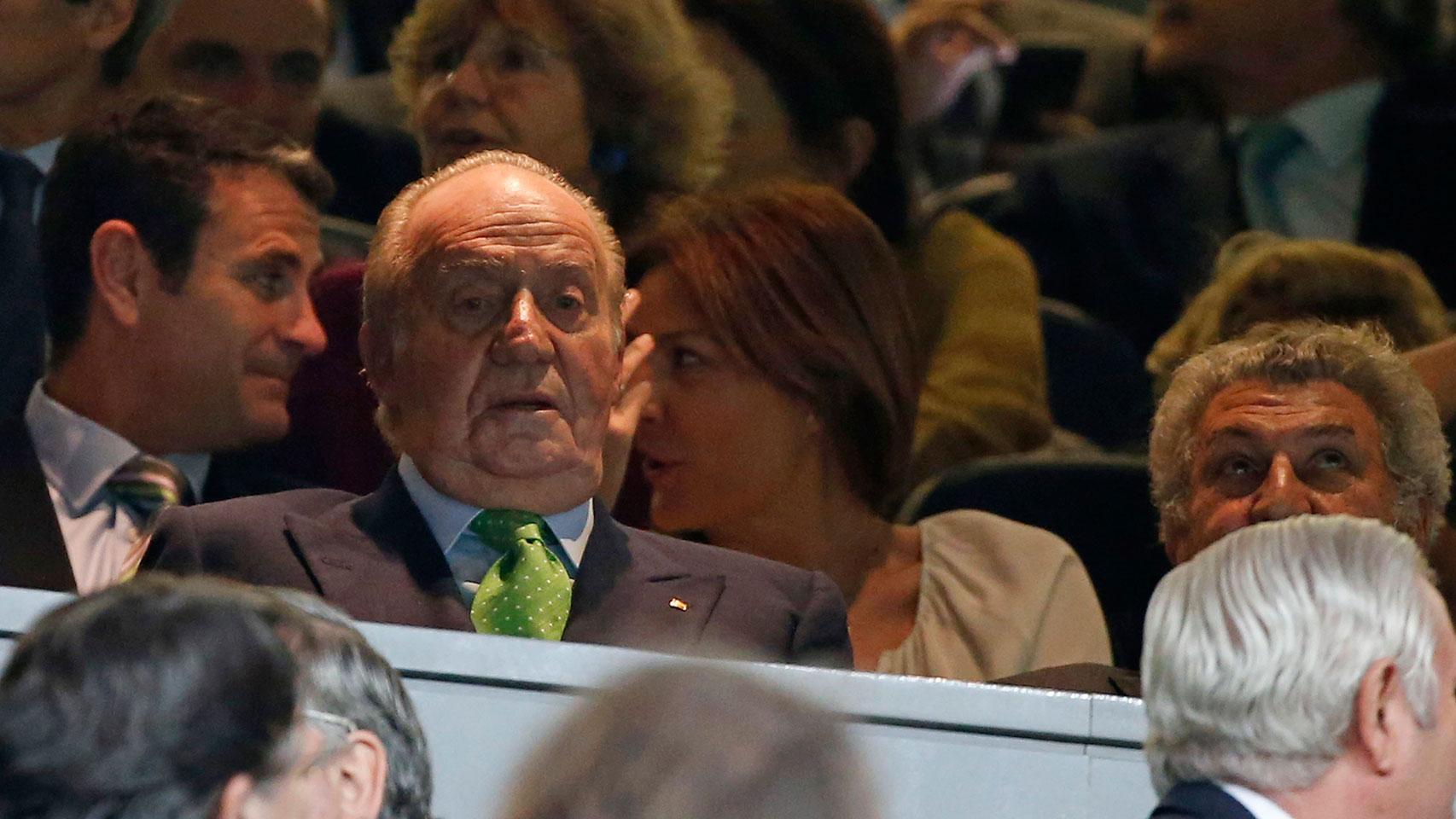 El rey Juan Carlos, este martes en el Bernabéu.