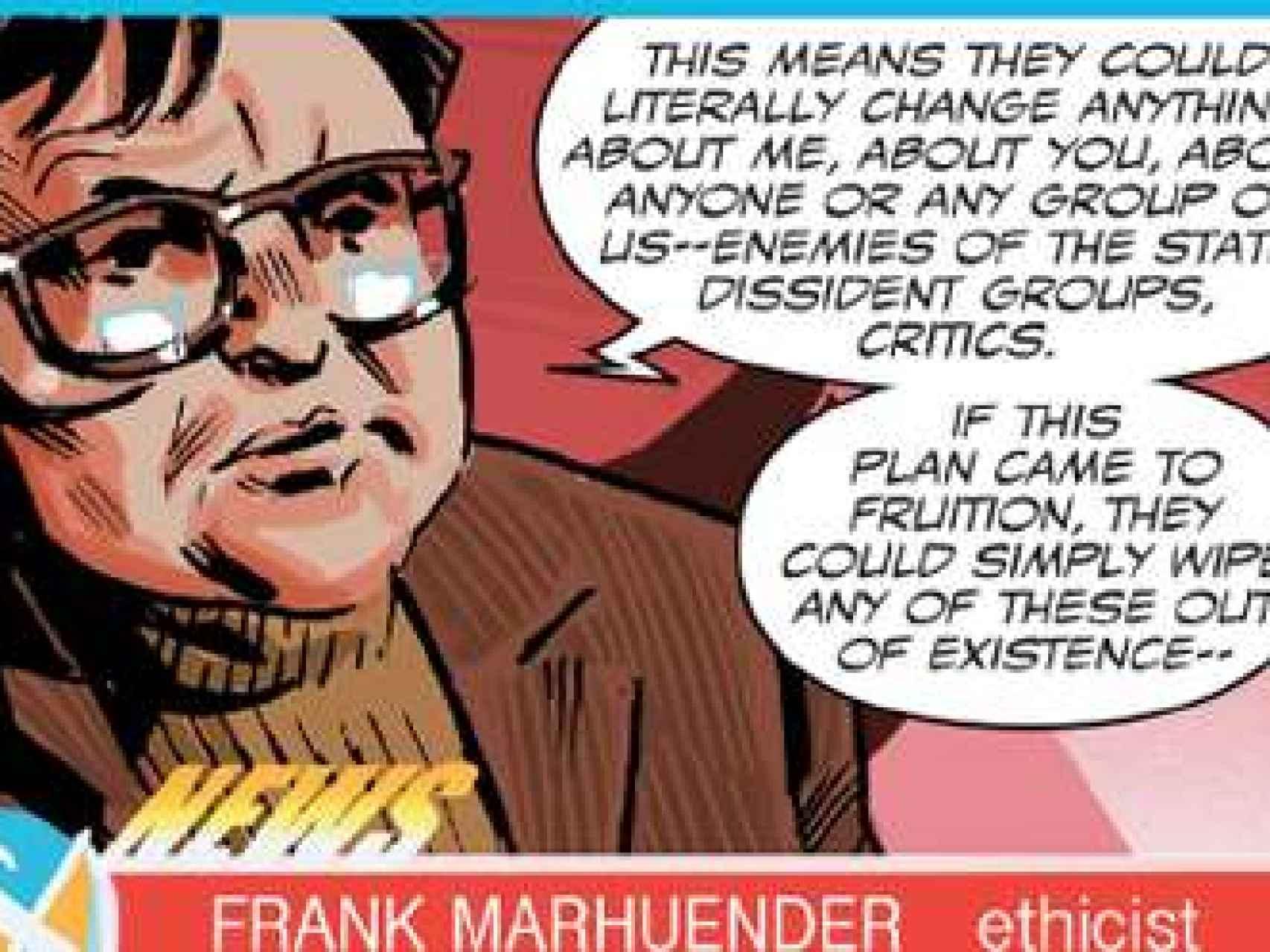 Viñeta del cómic en la que aparece Frank Marhuender, 'alter ego' de Marhuenda