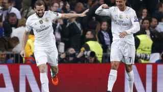 Nacho celebra su gol junto a Cristiano Ronaldo