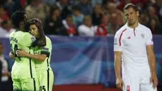 El Manchester City celebra un gol ante el Sevilla.
