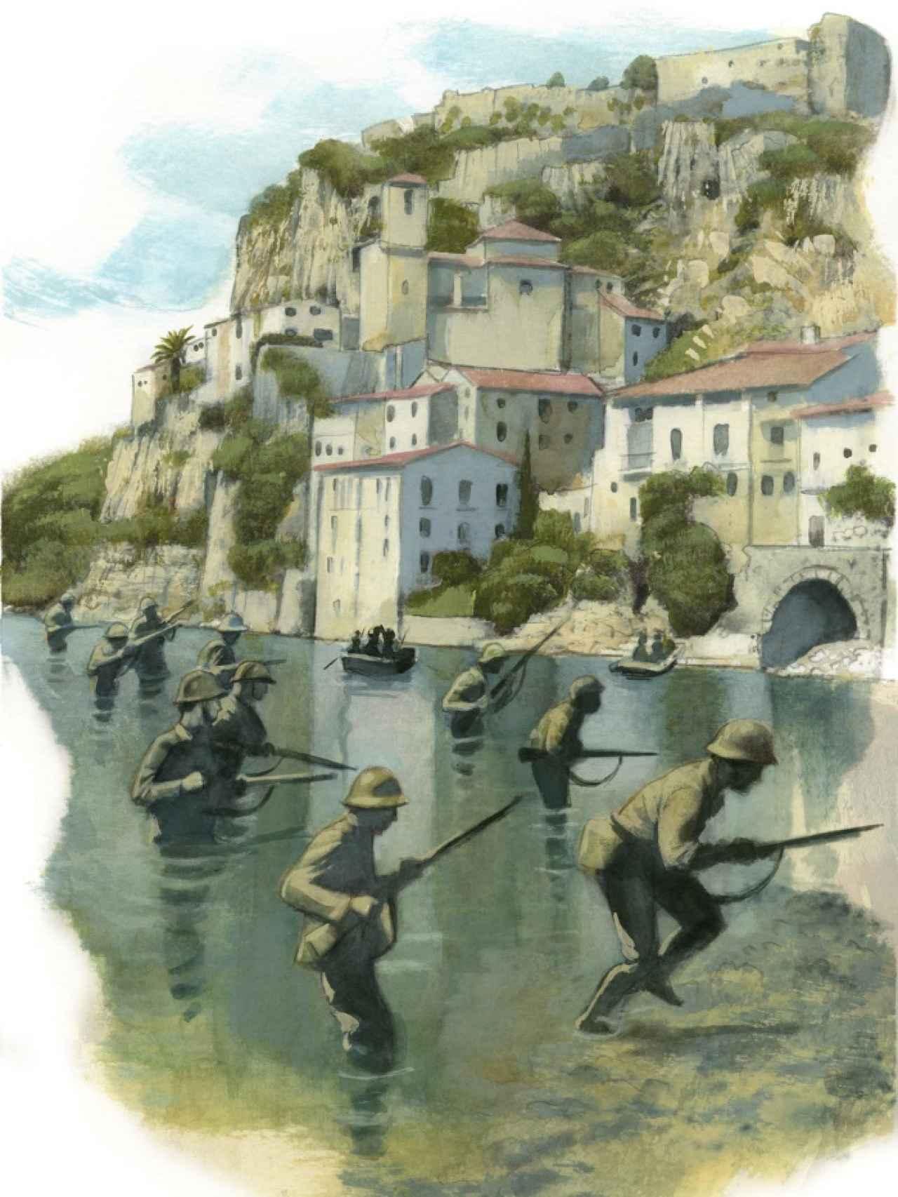 Ilustración de Fernando Vicente sobre la batalla del Ebro