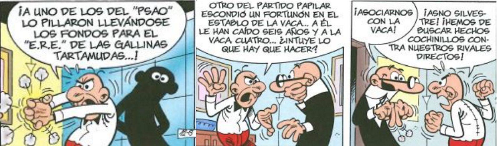 Mortadelo y Filemón dibujan la estrategia para ganar votos.