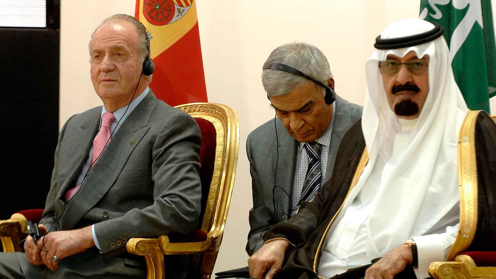 El rey Juan Carlos y el rey de Arabia Saudí, Abdallah Bin Abdulaziz, durante la presentación del Fondo.