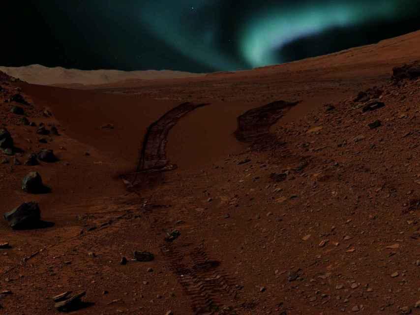 Así se verían las auroras marcianas desde el vehículo Curiosity.
