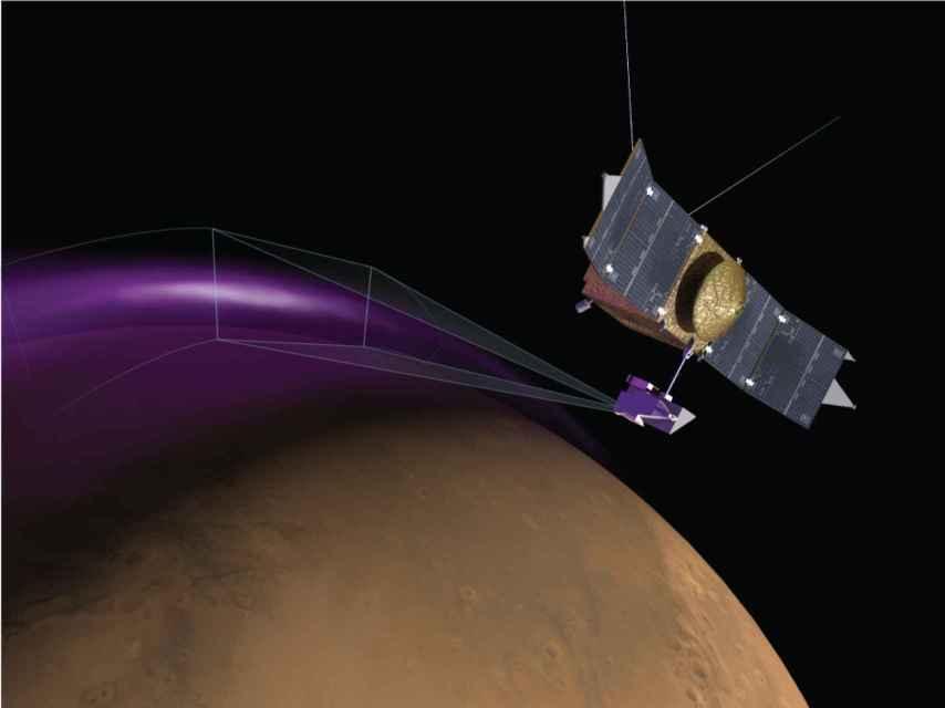 Representación de la nave de la misión MAVEN.
