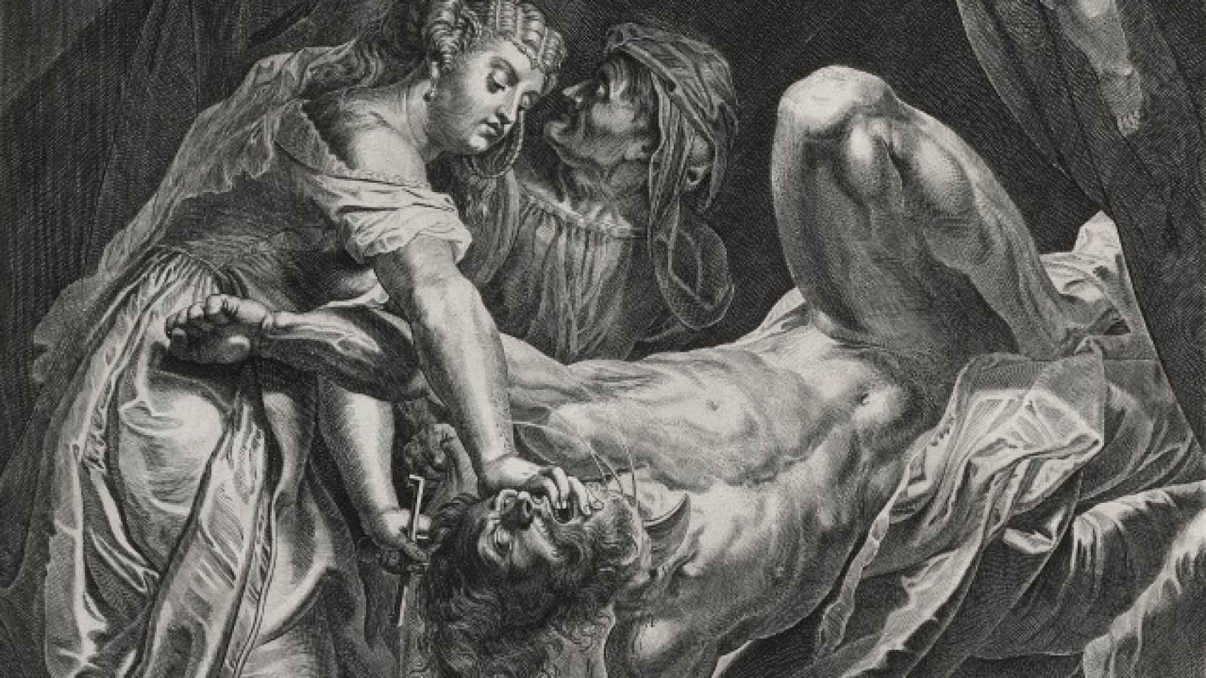 Judith corta la cabeza de Holofernes.