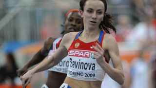 Maria Savinova en un campeonato de atletismo en 2009 en Turín