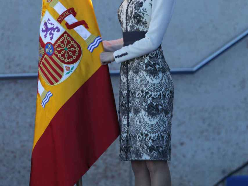 Doña Letizia con un vestido de Felipe Varela de 2012