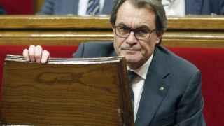 El president Mas, este martes en su escaño del Parlament