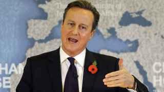 El primer ministro británico, David Cameron, durante su discurso sobre el 'Brexit' este martes