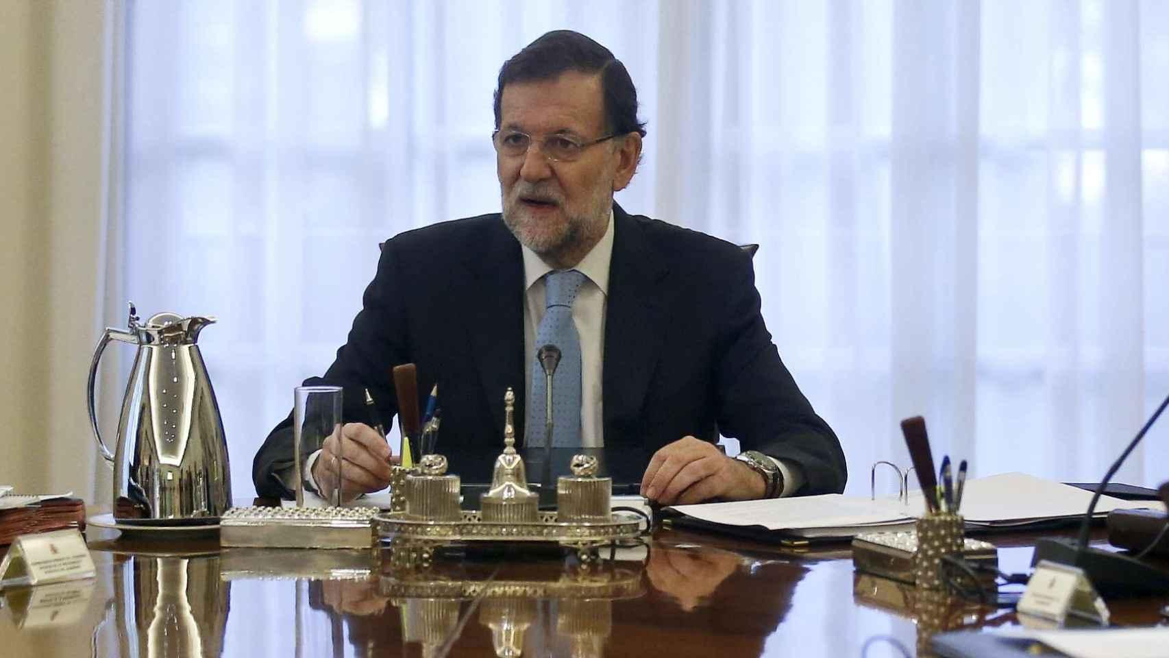 Mariano Rajoy durante el Consejo de Ministros extraordinario celebrado este miércoles