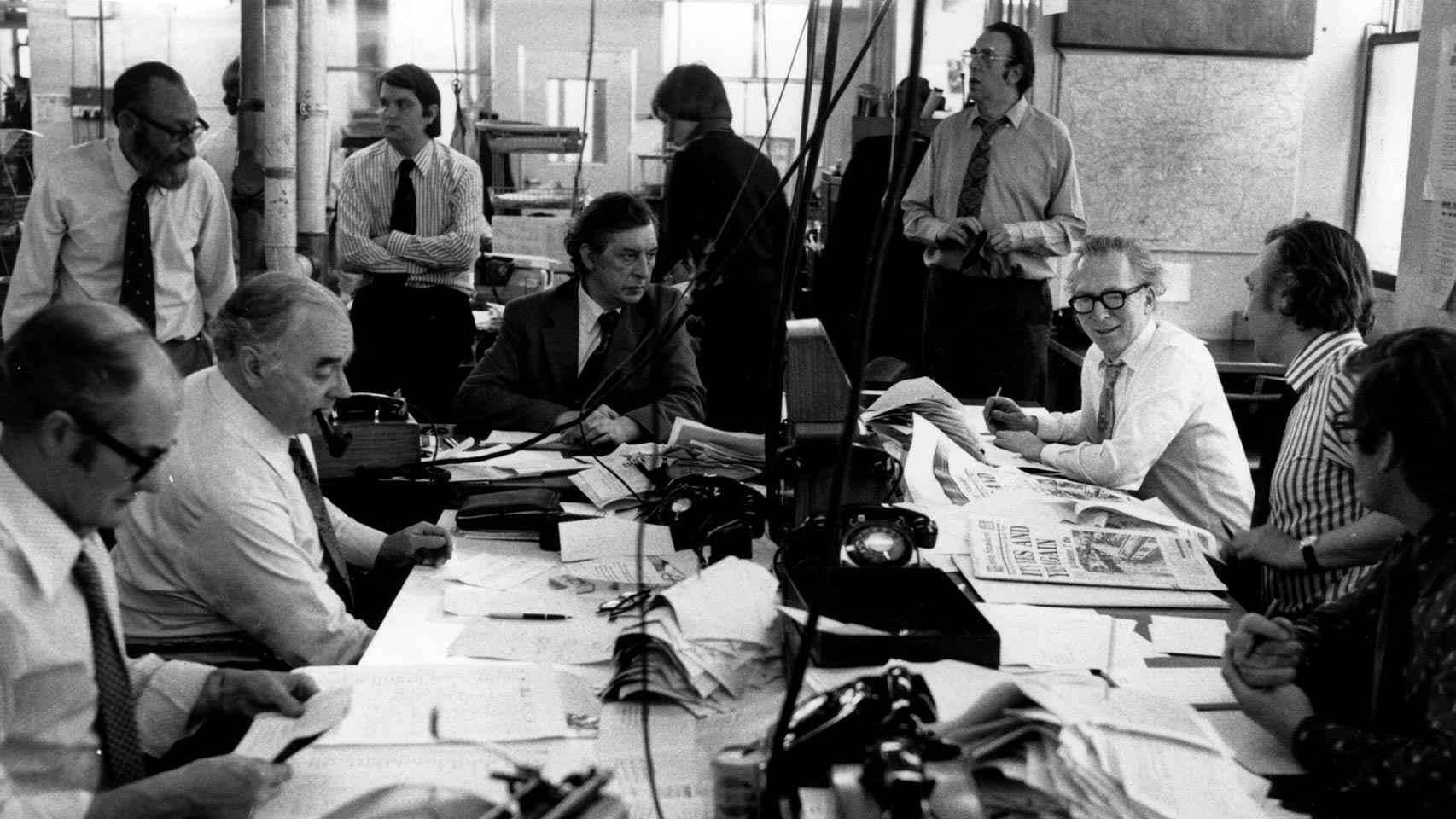 Redacción del Evening Standard en junio de 1975.