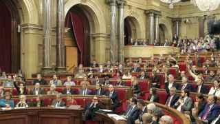El Parlament durante el pleno en el que se aprobó la resolución secesionista